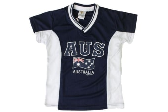 Kids Sports Soccer Football Rugby Jersey Top T Shirt Tee Australia Souvenir B -Navy with White Sides