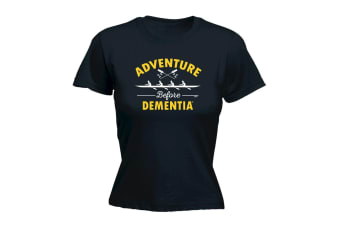 123T Funny Tee - Dementia Row - (Medium Black Womens T Shirt)