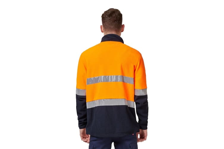 King Gee Reflective Full Zip Spliced Hi Vis Fleece (Orange/Navy, Size L)