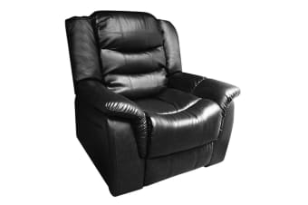 Alan Recliner Bonded Leather 1 Seater (Black)