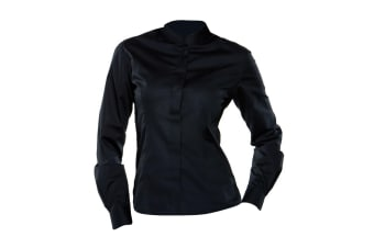 Bargear® Ladies Long Sleeved Mandarin Collar Bar Shirt (Black)