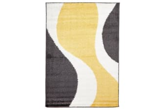 Enigma Shag Rug Yellow Charcoal White 230x160cm