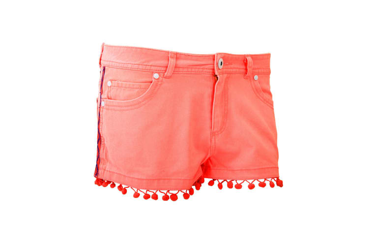 Brave Soul Ladies/Womens Cotton Hot Pants With Tassels (Coral) (UK 14 EURO 42)