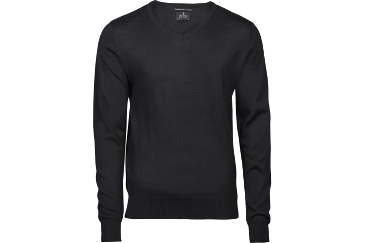 Tee Jays Mens Merino Blend V Neck Jumper (Black) (S)