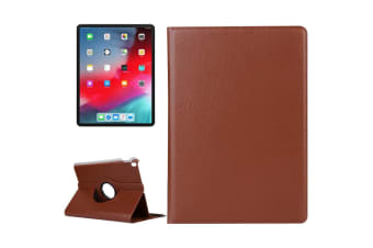 For iPad Pro 12.9 Inch (2018) Case Lychee Texture PU Leather Folio Cover Brown