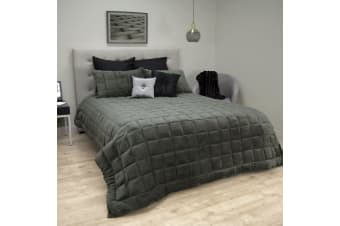 Faux Mink Quilted Comforter Set Queen Charcoal by Ardor