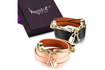 Boxed 2 Pieces Genuine Cow Leather Wrap Bracelet With 18K Gold Lock & Key Charm