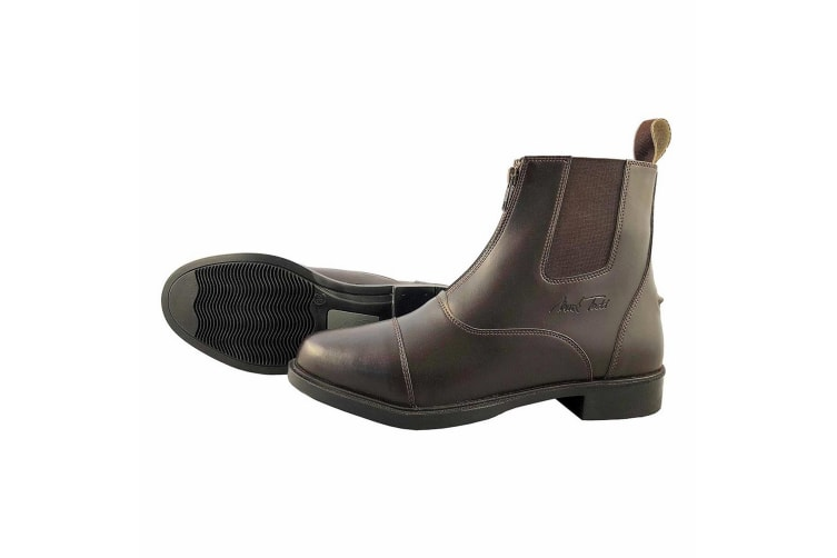 Mark Todd Adults Synthetic Jodhpur Boots With Front Zip (Brown) (5.5 UK)