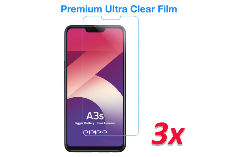 [3 Pack] OPPO A3s Ultra Clear Screen Protector Film by MEZON – Case Friendly, Shock Absorption (A3s, Clear) – FREE EXPRESS
