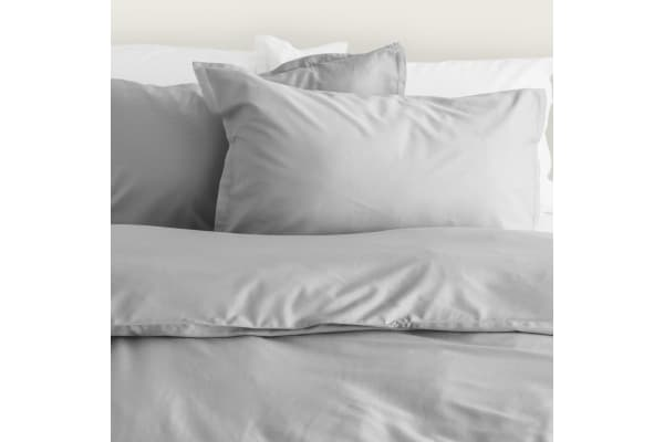Canningvale Bamboo Cotton Quilt Cover Set Queen Perla Grey