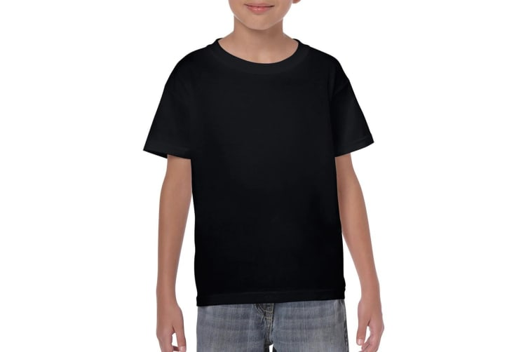 Gildan Childrens Unisex Heavy Cotton T-Shirt (Pack Of 2) (Black) (XS)