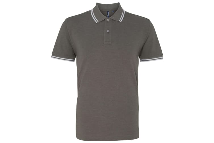 Asquith & Fox Mens Classic Fit Tipped Polo Shirt (Charcoal/ White) (L)