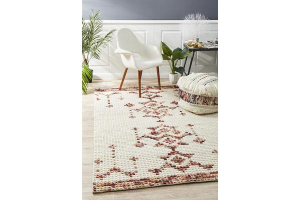 Ryder Natural White & Ombre Cross Stitch Wool Rug 280x190cm