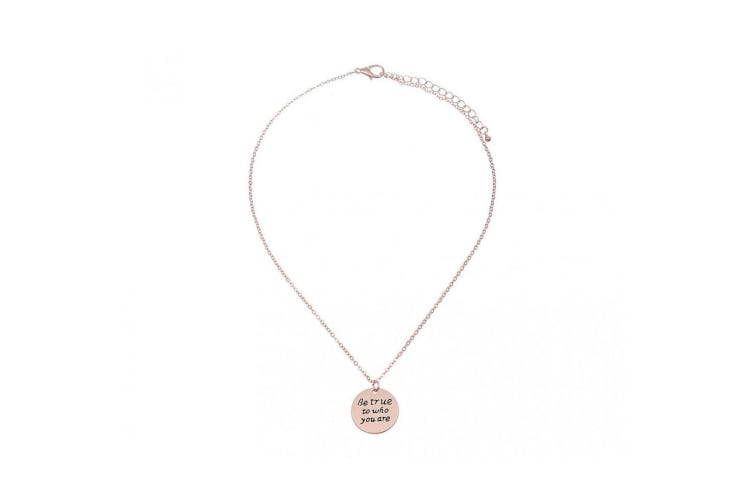 Intrigue Womens/Ladies Be True To Who You Are Engraved Pendant (Rose Gold) (One Size)