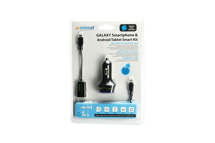 Mbeat Dual USB Charger w/Micro USB 5 Pin to USB OTG Cable Smart for Smartphones