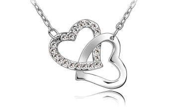 Hearts Entwined Pendant Necklace Clear Embellished with Swarovski crystals