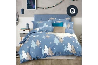 Queen Size Periwinkle Christmas Tree Design Quilt Cover Set