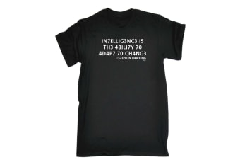 123T Funny Tee - Intelligence Is The Ability To Adapt - (X-Large Black Mens T Shirt)