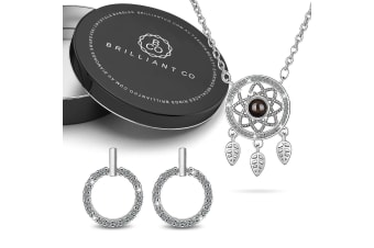 Boxed Rhodium Plated Necklace and Earrings Set