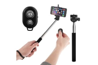 Bluetooth Remote Control Extendable Selfie Stick Monopod Iphone Samsung Htc Blk