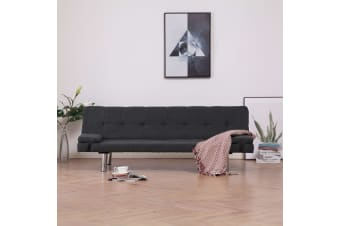 vidaXL Sofa Bed with Two Pillows Dark Grey Polyester
