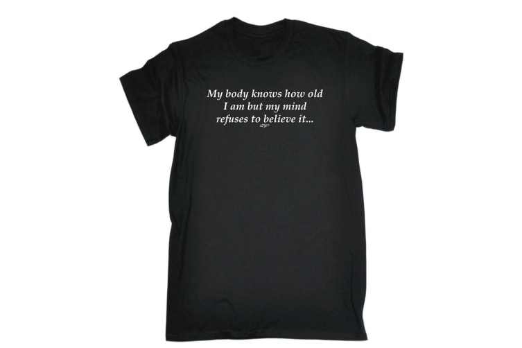 123T Funny Tee - My Body Knows How Old - (Small Black Mens T Shirt)