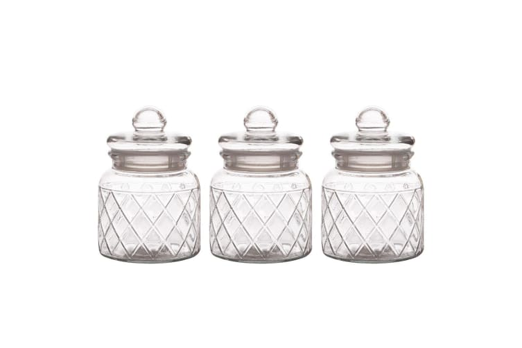 3pc Casa Domani 650ml Trellis Glass Storage Food Container Holder Jars w  Lid