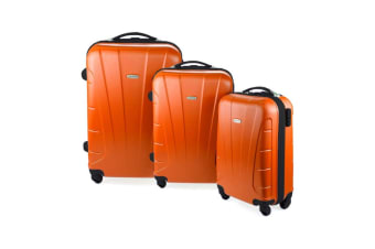 Orbis 3 Piece Hardside Spinner Luggage Set (Tangerine + Black)