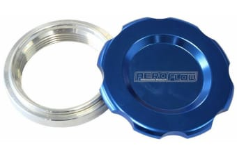 """Aeroflow 1.5"""" Weld Bung And Blue Cap Low Profile Female Weld-On"""