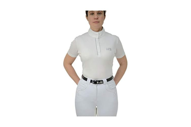 HyFASHION Womens/Ladies Diamante Show Shirt (Arctic White) (S)