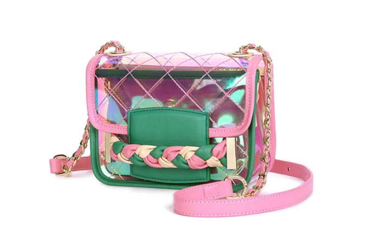 Bright Color Women'S Transparent Cross Body Bag Jelly Pvc Clutch Purse Beach Bag Strawberry