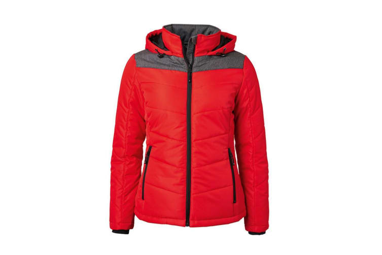 James and Nicholson Womens/Ladies Winter Jacket (Red/Anthracite Melange) (XL)