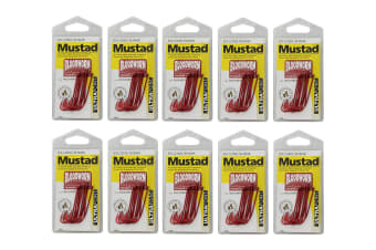Mustad Bloodworm Size 3/0 -90234npnr-Bulk 10 Pce Value Pack-Chemically Sharpened