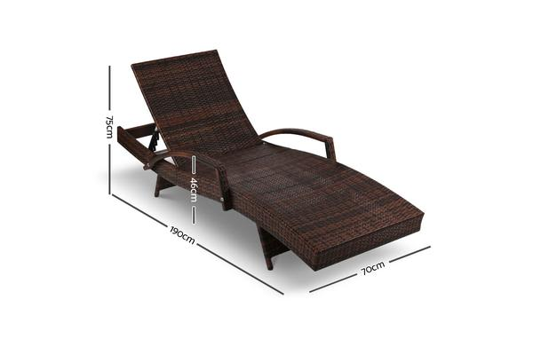 Set of 2 Gardeon Outdoor Sun Lounge Chair with Cushion (Brown)