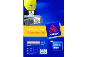 AVERY Silver Laser Label HD Vinyl L6013-20 1UP