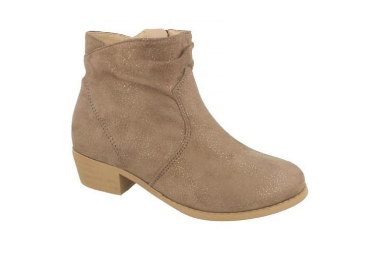 Spot On Girls Mid Heel Rouched Ankle Boots (Nude) (UK 2)