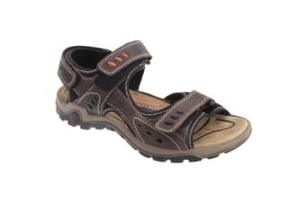 IMAC Mens 3x Touch Fastening Waxy Leather Deluxe Sports Sandals (Brown)