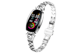 Women Fashion Bluetooth Smart Bracelet Fitness Tracker Waterproof Heart Rate Blood Pressure Smart Watch for Android iOS(BRIGHT SILVER)