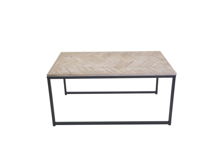 Chevron Set of 3 Wooden Coffee Table Side Storage Sets Natural Wood Top