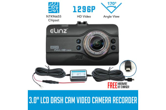 Elinz Dash Cam DVR Car Video Camera Recorder FHD 170deg Night Vision Crash 1296P 3.0 LCD Hardwire Kit Charger
