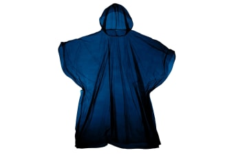 Hooded Plastic Reusable Poncho (Navy) (One Size)