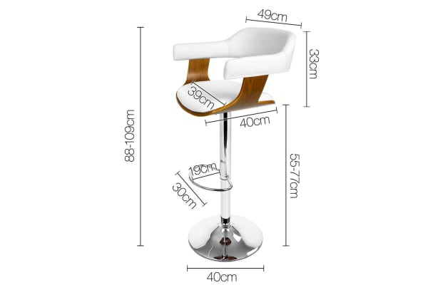 PU Leather Wooden Kitchen Bar Stool (White)
