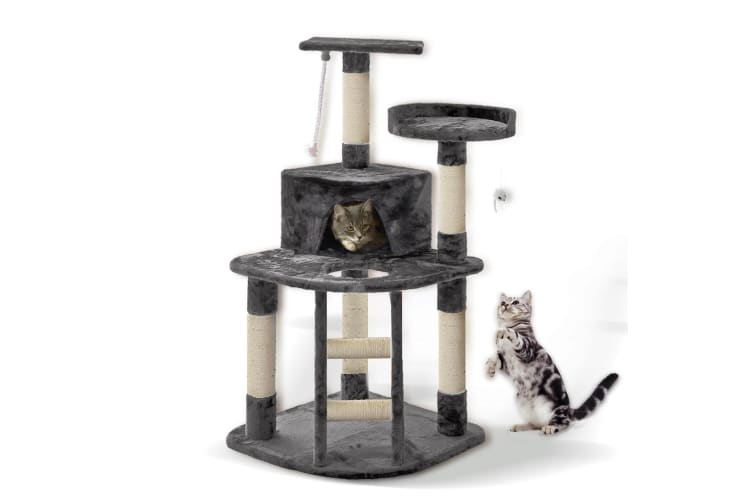 PaWz 0.8-2.1M Cat Scratching Perch Post Tree Gym House Condo Furniture Scratcher  -  1.2M in Grey