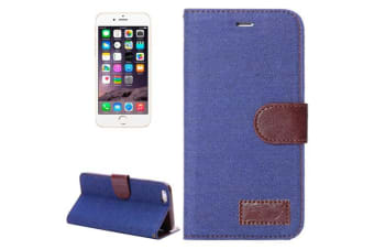 For iPhone 6S PLUS 6 PLUS Wallet Case Denim Leather Shielding Cover Dark Blue