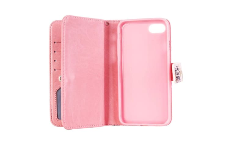 For iPhone 8 7 Wallet Case Stylish Hearts Durable Protective Leather Cover Red