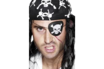 Smiffys Pirate Eyepatch With Skull & Crossbones (Black/White) (One Size)