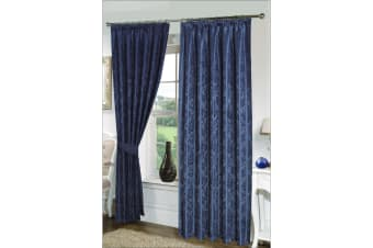 Seattle Ready Made Fully Lined Patterned Curtains (Navy) (65 x 72 (166cm x 183cm))