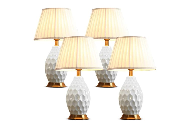 SOGA 4x Textured Ceramic Oval Table Lamp with Gold Metal Base White