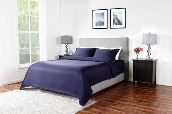 Ovela 1000TC Cotton Rich Luxury Quilt Cover Set (Queen, Midnight Blue)