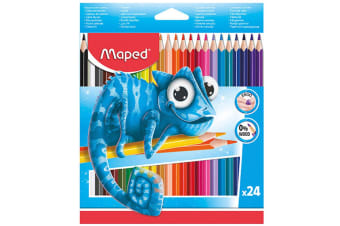 24pc Maped Pulse Ergo Color Peps Kids 0% Wood Triangular Drawing/Colour Pencils